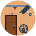 camera, door, lock, protection, security, seo, theft icon