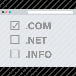 domain, flat design, hosting, internet, registration, website icon