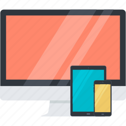 computer, design, flat design, mobile, responsive, tablet, website icon