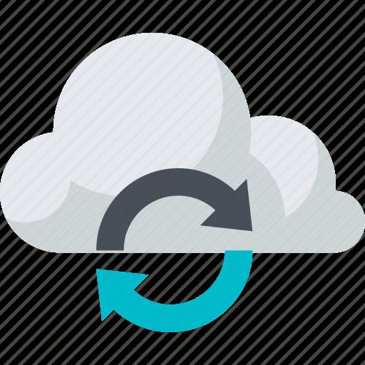 cloud, computing, data, flat design, internet, storage, sync icon