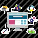 development, management, seo icon, • content icon