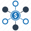 banking, funding, fundraising, money, network icon