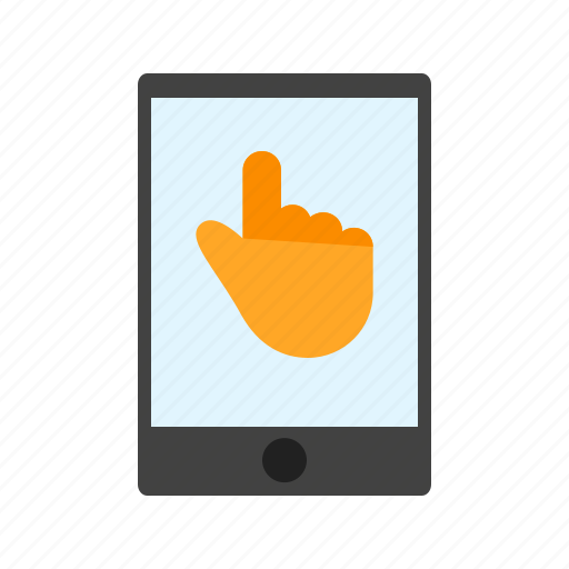 hand, iphone, mobile, phone, screen, tablet, technology icon