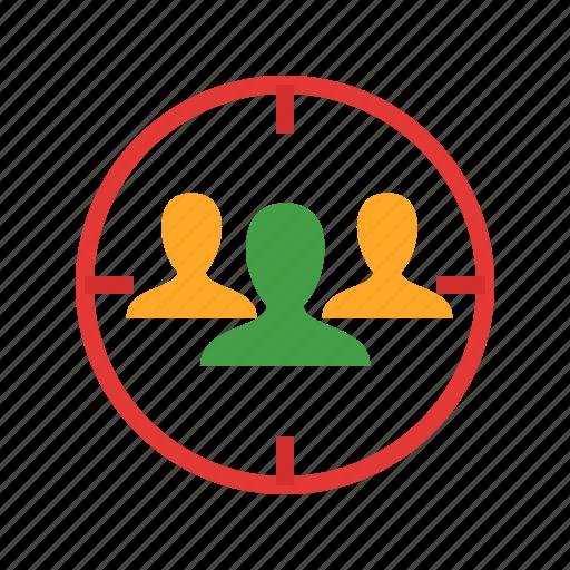 advertising, audience, business, marketing, people, target, targeting icon