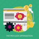 click, development, opimization, pay, seo icon