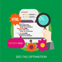development, optimation, seo, tag icon