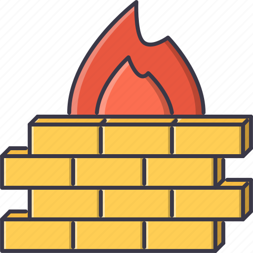 antivirus, fire, protection, seo, site, wall icon