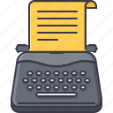 article, paper, promotion, seo, test, typewriter, writer icon