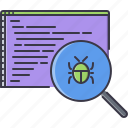 bug, code, develop, developer, program, programming, search icon