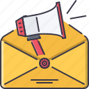 envelope, horn, letter, mail, marketing, promotion icon
