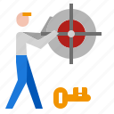 catch, illustration, search, success, target icon