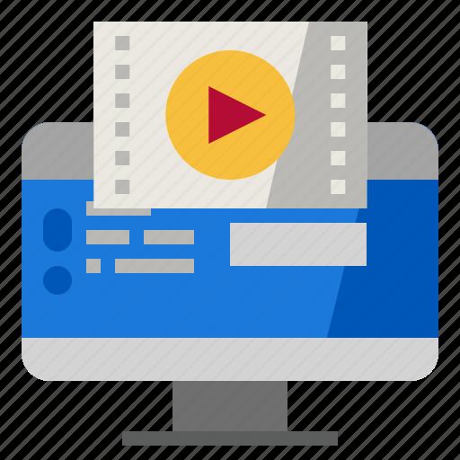 advertising, digital, internet, marketing, video icon