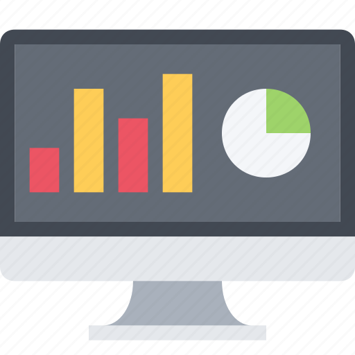 analytic, chart, diagram, monitor, sales report, screen icon