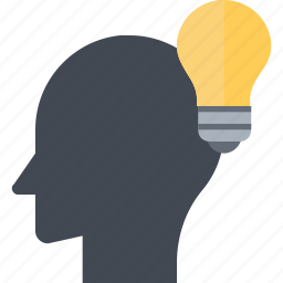 brain, bulb, idea, innovation, inspiration, invention, light icon