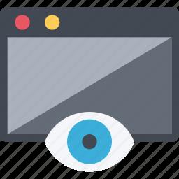 browser, design, eye, perception, retina, view, web icon