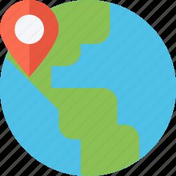 globe, indicator, location, map, place, point, travel, world icon