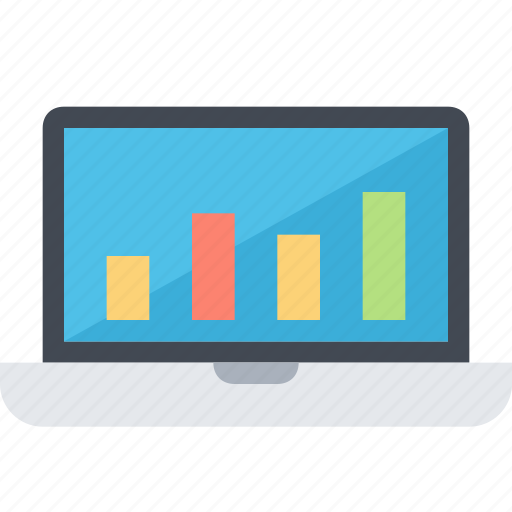 chart, graph, laptop, monitor, report, research, statistic icon