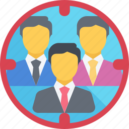 audience, focus, group, market, target, team icon