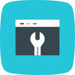 browser, screen, settings, window, wrench icon