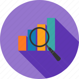 analysis, bar, business, data, magnifying glass, optimization, statistics icon