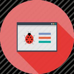 browser, bug, computer, crawler, internet, search, window icon