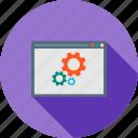 analytics, browser, gear, interface, settings, web, window