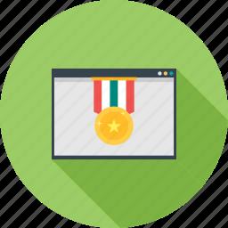 award, medal, position, ranking, ribbon, star icon