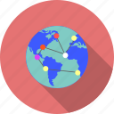 connection, globe, internet, magnifier, network, world, world map icon