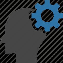 brain, gear, head, innovation, intelligence, mind, solution, think icon