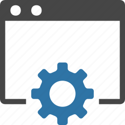 browser, coding, developer, development, gear, setting, web icon