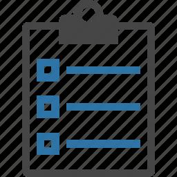 checkbox, checklist, clipboard, feedback, list, questionnaire, task, todo icon
