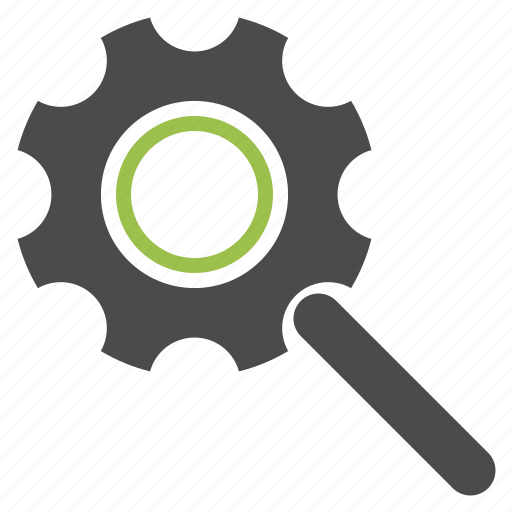 engine, gear, magnifying glass, optimization, search, seo, zoom icon