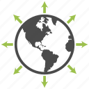 arrow, earth, global, network, planet, seo, solutions icon