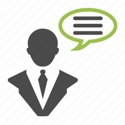 bubble, businessman, chat bubble, communication, management, message, seo icon