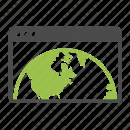 browser, development, earth, globe, network, seo, webpage, website icon