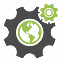 browser, development, earth, gear, globe, seo, tool, worldwide icon