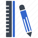 drawing, education, pencil, ruler icon