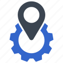 gear, location, navigation, option, pin, pointer, setting