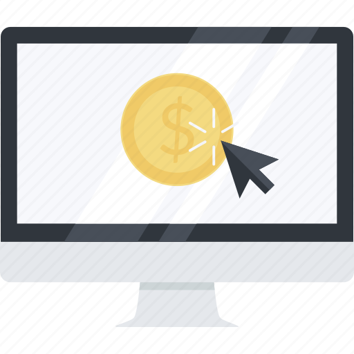 business, earn, flat design, internet, money, online, pay per click icon