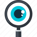 control, eye, flat design, monitoring, search icon