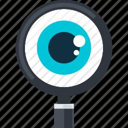control, eye, flat design, monitoring, search icon