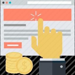 business, click, flat design, internet, marketing, pay, per icon