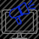 advertising, computer, marketing, megaphone, technology icon
