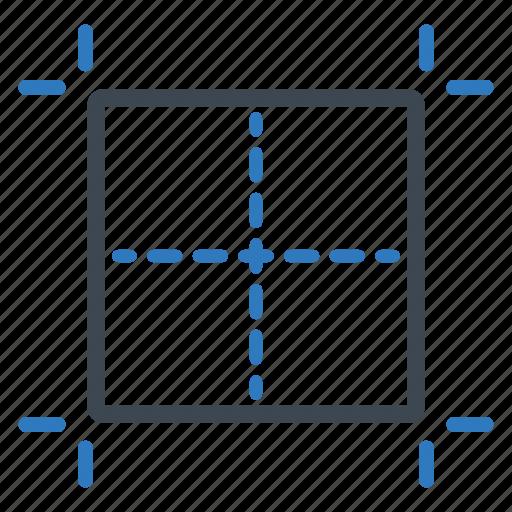 center, grid, guidlines, illustration icon