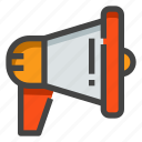 announcement, marketing, megaphone, online marketing, promotion