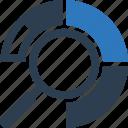 analysis, pie chart, search, seo icon