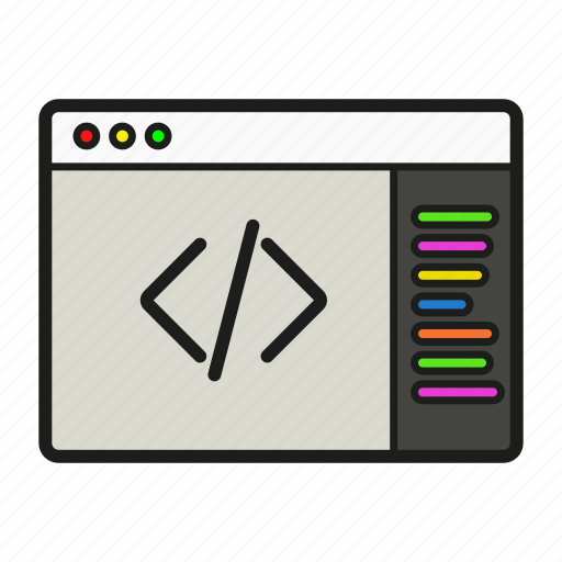 coding, it icon, page, system icon icon