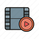 movie reel, play button, video player, watch icon icon