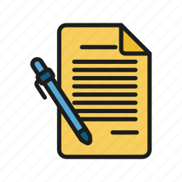 docyment, paper, paper and pen, pen icon icon