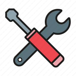 hammer, maintenance, options, screwdriver, settings, tool icon icon